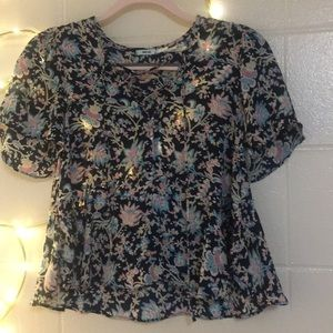 Kimchi Blue Lace-Up Floral Top!